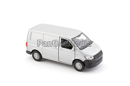transport silver van car on white