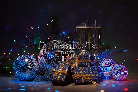 champagne flutes disco balls gift boxes