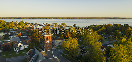 aerial view over downtown cape vincent