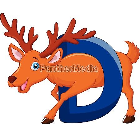 alphabet d with deer cartoon