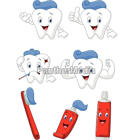 tooth brush and tooth paste cartoon