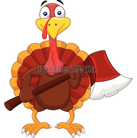 cartoon turkey holding axe