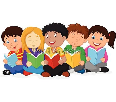 illustration of happy children lying on