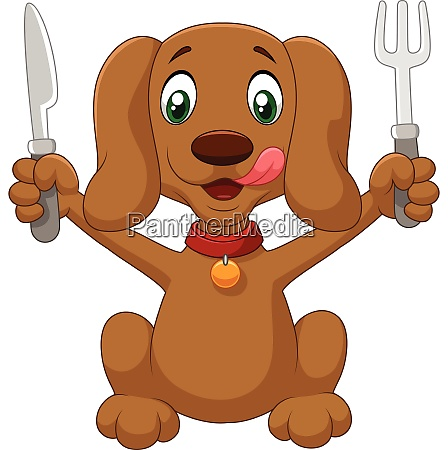 cartoon dog holding a fork