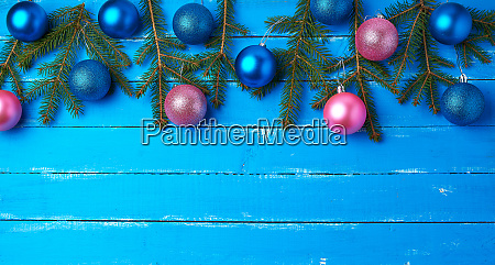 green spruce branches pink and dark