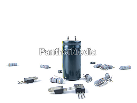 electronic parts on a white background
