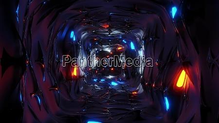 endless abstract fantasy elven tunnel corridor