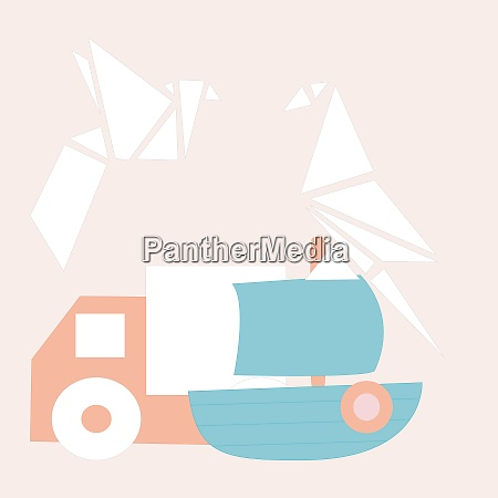 vector illustration with truck ship and