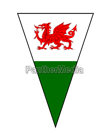 welsh flag as bunting triangle