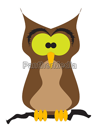 cartoon owl perched on a branch
