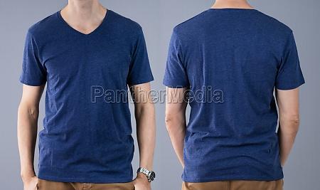 man in blue t shirt