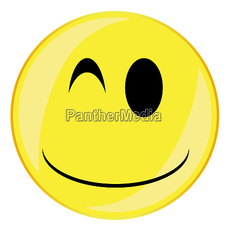 silly smile face button isolated