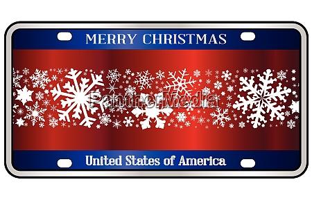 merry christmas patriotic number plate