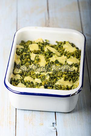 bavarian spinach spaetzle in a casserole