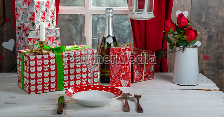 christmas gifts on the table near