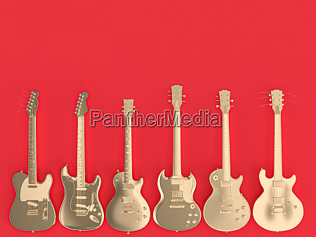 collection of several gold colored guitars