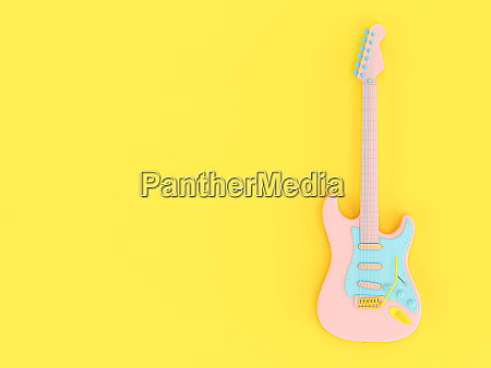 electric guitar in solid colors pink