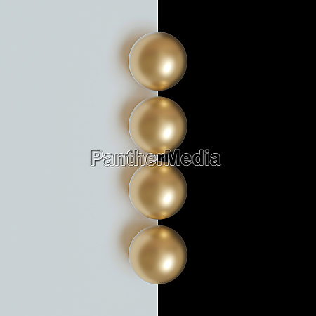 3d image render of gold spheres