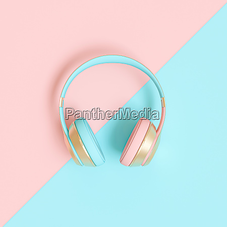 audio headphone 3d render image in