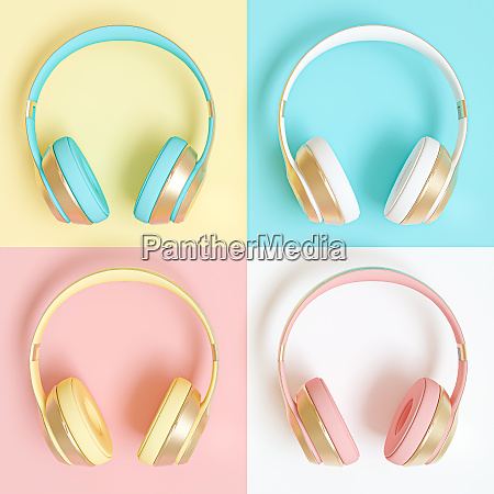collection of audio headphones in different