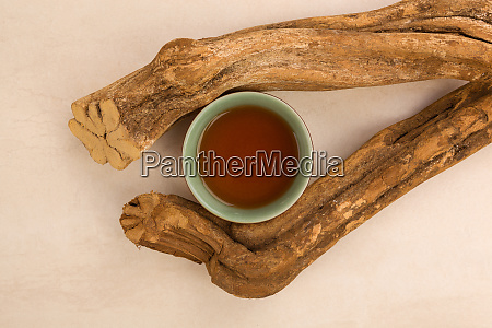 ayahuasca drink and wood