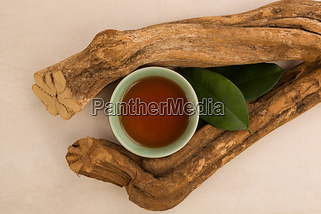 ayahuasca drink leaves and wood