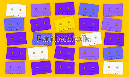 audio tape cassette on yellow