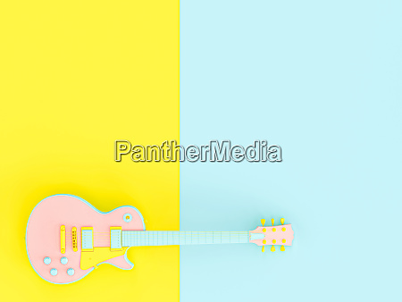 blue pink and yellow electric guitar
