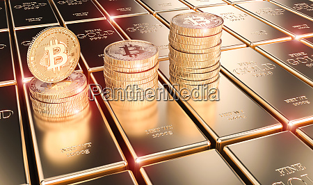3d image render of bitcoin coins