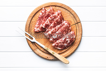 sliced salami sausage meat