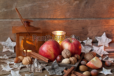 rustic style christmas still life with