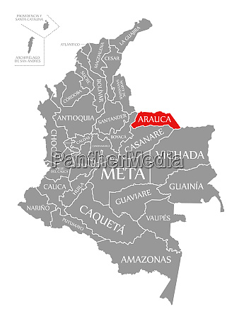 arauca red highlighted in map of