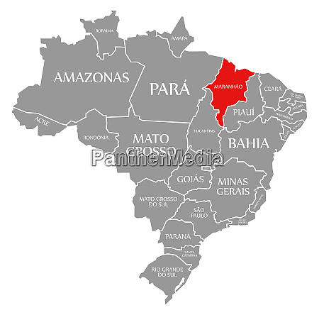 maranhao red highlighted in map of