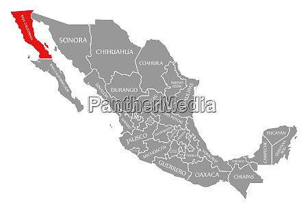 baja california red highlighted in map