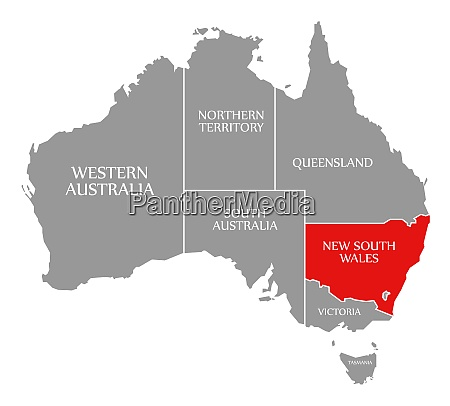 new south wales red highlighted in