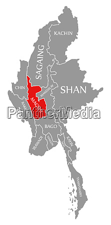 magwe red highlighted in map of