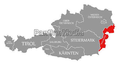 burgenland red highlighted in map of