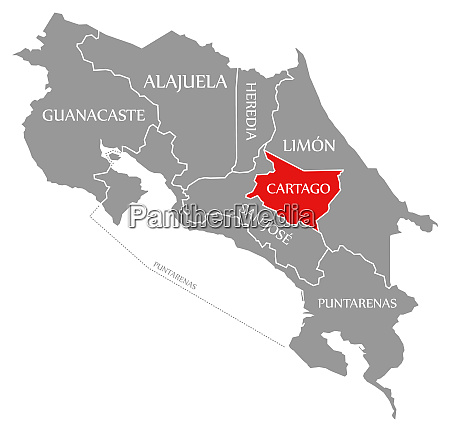 cartago red highlighted in map of