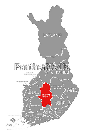 central finland red highlighted in map
