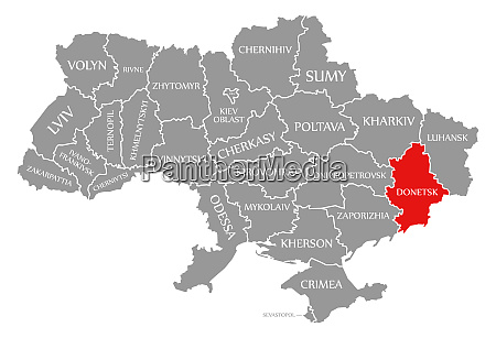 donetsk red highlighted in map of