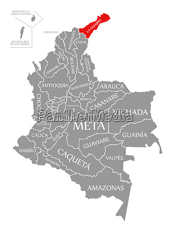 la guajira red highlighted in map