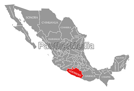 guerrero red highlighted in map of