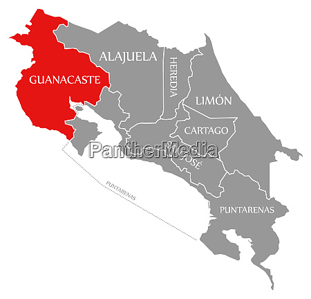 guanacaste red highlighted in map of