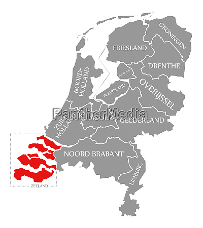 zeeland red highlighted in map of