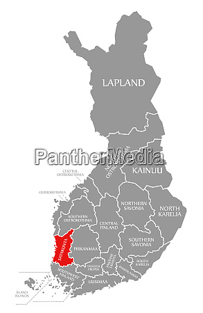 satakunta red highlighted in map of