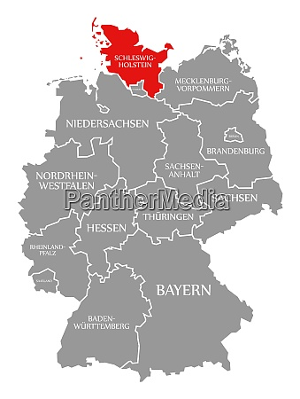 schleswig holstein red highlighted in map