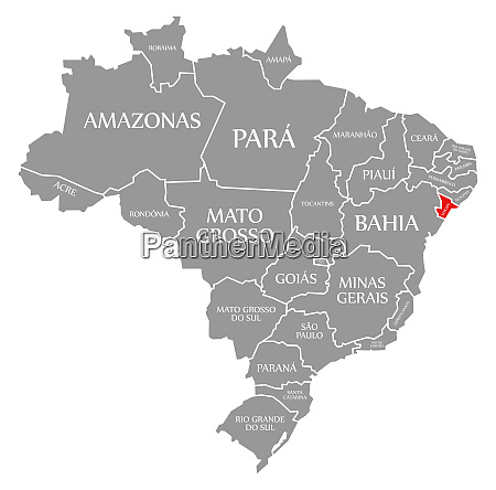 sergipe red highlighted in map of