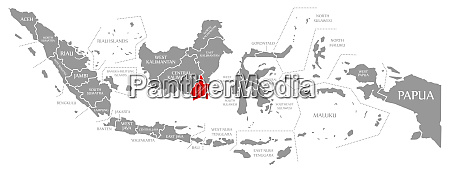 south kalimantan red highlighted in map