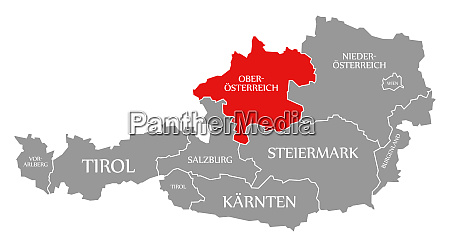upper austria red highlighted in map