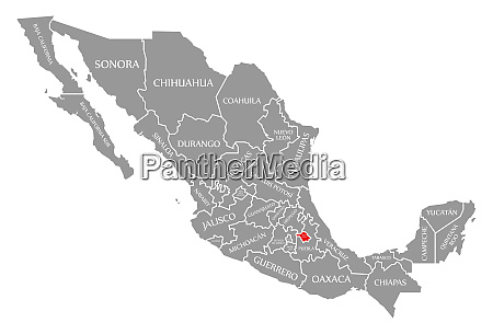 tlaxcala red highlighted in map of